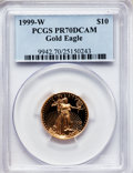 Modern Bullion Coins: , 1999-W G$10 Quarter-Ounce Gold Eagle PR70 Deep Cameo PCGS. PCGSPopulation (111). NGC Census: (486). Numismedia Wsl. Price...