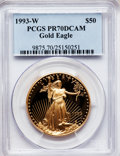 Modern Bullion Coins: , 1993-W G$50 One-Ounce Gold Eagle PR70 Deep Cameo PCGS. PCGSPopulation (74). NGC Census: (320). Mintage: 34,389. Numismedia...