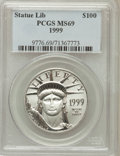 Modern Bullion Coins: , 1999 P$100 One-Ounce Platinum Eagle MS69 PCGS. PCGS Population(97/0). NGC Census: (52/0). Mintage: 56,707. Numismedia Wsl....