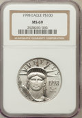 Modern Bullion Coins: , 1998 P$100 One-Ounce Platinum Eagle MS69 NGC. NGC Census: (71/0).PCGS Population (211/1). Mintage: 133,002. Numismedia Wsl...
