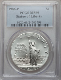1986-P $1 Statue of Liberty Silver Dollar MS69 PCGS. PCGS Population (3671/147). NGC Census: (3120/178). Mintage: 723,63...
