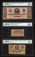 Confederate Notes:1863 Issues, T62 $1 1863;. T63 50¢ 1863;. $35 Feb. 20, 1863 Bond Coupon.. ...(Total: 3 items)