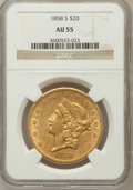 Liberty Double Eagles: , 1858-S $20 AU55 NGC. NGC Census: (187/133). PCGS Population(48/43). Mintage: 846,710. Numismedia Wsl. Price for problem fr...