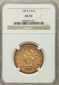 Liberty Eagles: , 1872-S $10 AU53 NGC. NGC Census: (17/39). PCGS Population (6/8).Mintage: 17,300. Numismedia Wsl. Price for problem free NG...