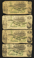Confederate Notes:1862 Issues, T45 $1 1862 Four Examples.. ... (Total: 4 notes)