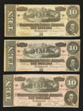 Confederate Notes:1864 Issues, T68 $10 1864 Three Examples.. ... (Total: 3 notes)