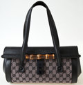 Luxury Accessories:Bags, Heritage Vintage: Gucci Monogram and Leather Shoulder Bagwith Bamboo Closure. ...