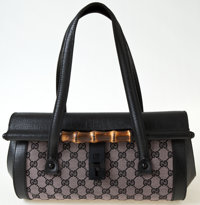 Heritage Vintage: Gucci Monogram and Leather Shoulder Bag with Bamboo Closure