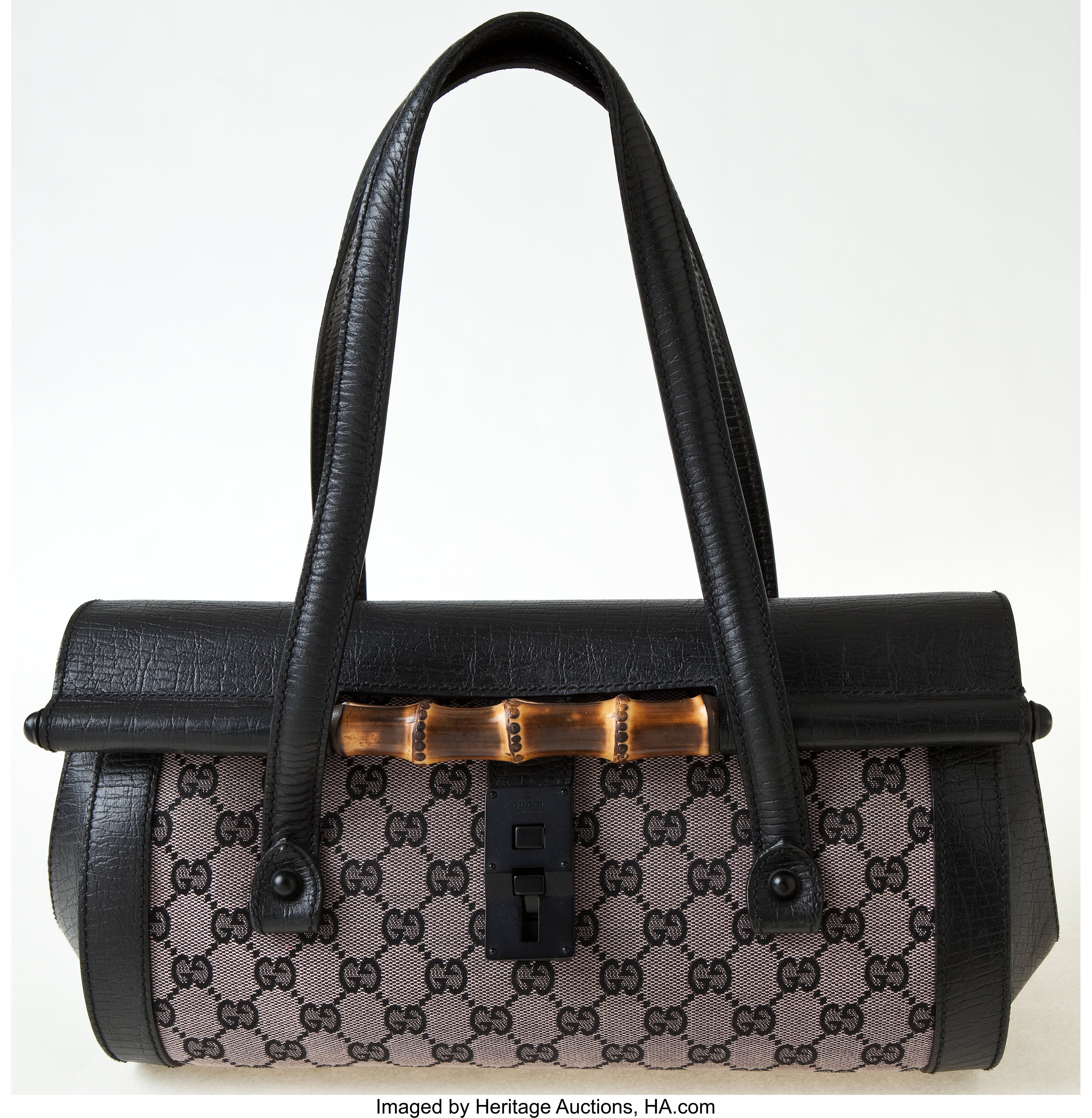 11324c0f5 Heritage Vintage: Gucci Monogram and Leather Shoulder Bag with | Lot #77010  | Heritage Auctions