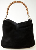Luxury Accessories:Bags, Heritage Vintage: Gucci Black Suede Hobo Bag with BambooHandle. ...