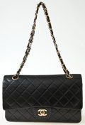 Luxury Accessories:Bags, Heritage Vintage: Chanel Black Quilted Lambskin Double FlapBag. ...