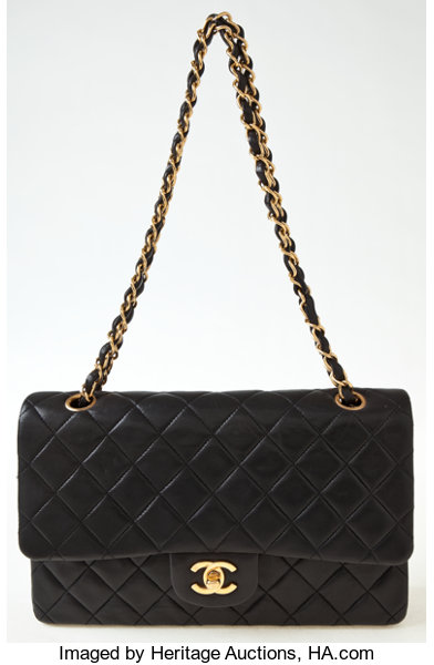 82b7d1977b6c Luxury Accessories:Bags, Heritage Vintage: Chanel Black Quilted Lambskin  Double FlapBag.
