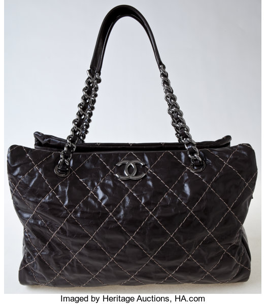 f06e6fa84006 Heritage Vintage  Chanel Brown Shiny Quilted Leather Tote. ...