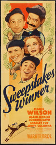 "Movie Posters:Comedy, Sweepstakes Winner (Warner Brothers, 1939). Insert (14"" X 36""). Comedy.. ..."