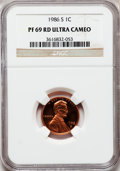Proof Lincoln Cents, 1986-S 1C PR69 Red Ultra Cameo NGC. NGC Census: (422/15). PCGSPopulation (2958/58). Numismedia Wsl. Price for problem fre...