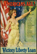 "Movie Posters:War, World War I Propaganda Poster (Forbes, 1919). Poster (27"" X 40"").""Americans All!"" War.. ..."