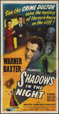 """Movie Posters:Crime, Shadows in the Night (Columbia, 1944). Three Sheet (41"""" X 80"""").Crime.. ..."""