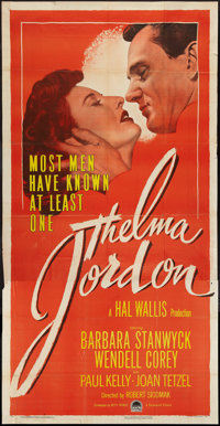 "Thelma Jordon (Paramount, 1950). Three Sheet (41"" X 81""). Film Noir"