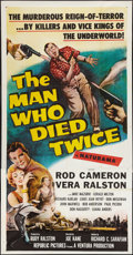 """Movie Posters:Crime, The Man Who Died Twice (Republic, 1958). Three Sheet (41"""" X 80""""). Crime.. ..."""