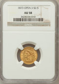 Liberty Quarter Eagles: , 1873 $2 1/2 Open 3 AU58 NGC. NGC Census: (118/533). PCGS Population(60/351). Mintage: 122,800. Numismedia Wsl. Price for p...