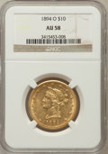 Liberty Eagles: , 1894-O $10 AU58 NGC. NGC Census: (271/274). PCGS Population(68/167). Mintage: 107,500. Numismedia Wsl. Price for problem f...