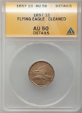 Flying Eagle Cents: , 1857 1C -- Cleaned -- ANACS. AU50 Details. NGC Census: (41/2258).PCGS Population (94/2779). Mintage: 17,450,000. Numismedi...