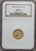 Classic Quarter Eagles, 1834 $2 1/2 AU50 NGC. Large Head, Breen-6140, Variety 2, R.3....
