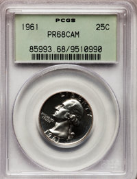1961 25C PR68 Cameo PCGS. PCGS Population (280/101). NGC Census: (388/192). Numismedia Wsl. Price for problem free NGC/P...
