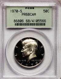 1970-S 50C PR68 Cameo PCGS. PCGS Population (417/247). NGC Census: (629/520). Numismedia Wsl. Price for problem free NGC...