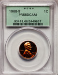 Proof Lincoln Cents: , 1968-S 1C PR68 Deep Cameo PCGS. PCGS Population (245/35). NGC Census: (107/36). Numismedia Wsl. Price for problem free NGC...
