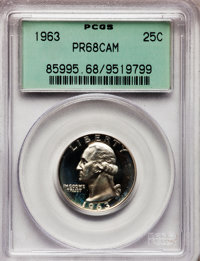 1963 25C PR68 Cameo PCGS. PCGS Population (397/191). NGC Census: (524/305). Numismedia Wsl. Price for problem free NGC/P...