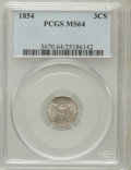 Three Cent Silver, 1854 3CS MS64 PCGS....