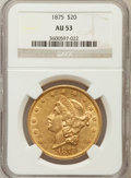 Liberty Double Eagles: , 1875 $20 AU53 NGC. NGC Census: (32/1201). PCGS Population (29/853).Mintage: 295,740. Numismedia Wsl. Price for problem fre...