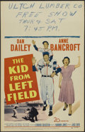 "Movie Posters:Sports, The Kid from Left Field (20th Century Fox, 1953). Window Card (14"" X 22""). Sports Drama. Starring Dan Dailey, Anne Bancroft,..."