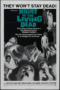 "Night of the Living Dead (Continental, 1968). One Sheet (27"" X 41""). Classic George A. Romero low budget horro..."