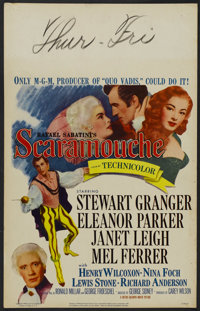 "Scaramouche (MGM, 1952). Window Card (14"" X 22""). Adventure. Starring Stewart Granger, Eleanor Parker, Janet L..."