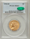 Indian Half Eagles: , 1910-D $5 MS63 PCGS. CAC. PCGS Population (221/42). NGC Census:(143/22). Mintage: 193,600. Numismedia Wsl. Price for probl...