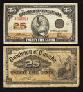 Canadian Currency: , DC-15b 25¢ 1900. DC-24c 25¢ 1923. ... (Total: 2 notes)
