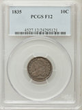 Bust Dimes: , 1835 10C Fine 12 PCGS PCGS Population (12/549). NGC Census:(9/453). Mintage: 1,410,000. Numismedia Wsl. Price for problem ...