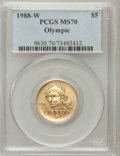 Modern Issues: , 1988-W G$5 Olympic Gold Five Dollar MS70 PCGS. PCGS Population(238). NGC Census: (1165). Mintage: 62,900. Numismedia Wsl. ...