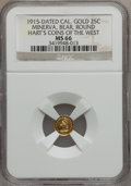 California Gold Charms, 1915 1/4 California Gold, Minerva, Bear, Round MS66 NGC. Ex: Hart's Coins Of The West....