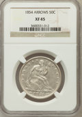 Seated Half Dollars: , 1854 50C Arrows XF45 NGC. NGC Census: (28/295). PCGS Population(53/264). Mintage: 2,982,000. Numismedia Wsl. Price for pro...