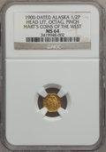 Alaska Tokens, 1900 1/2 Pinch Alaska Gold, Head Left, Octagonal MS64 NGC. Ex: Hart's Coins Of The West....
