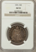 Seated Half Dollars: , 1876 50C AU53 NGC. NGC Census: (10/226). PCGS Population (16/281).Mintage: 8,419,150. Numismedia Wsl. Price for problem fr...