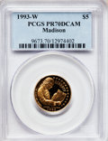 Modern Issues: , 1993-W G$5 Bill of Rights Gold Five Dollar PR70 Deep Cameo PCGS.PCGS Population (245). NGC Census: (2). Mintage: 78,651. N...