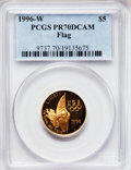 Modern Issues, 1996-W G$5 Olympic/Flag Bearer Gold Five Dollar PR70 Deep CameoPCGS. PCGS Population (124). NGC Census: (0). Numismedia W...