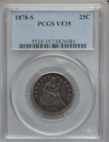 Seated Quarters: , 1878-S 25C VF35 PCGS. PCGS Population (7/23). NGC Census: (1/23).Mintage: 140,000. Numismedia Wsl. Price for problem free ...