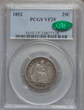 Seated Quarters: , 1852 25C VF25 PCGS. CAC. PCGS Population (2/54). NGC Census:(0/48). Mintage: 177,060. Numismedia Wsl. Price for problem fr...