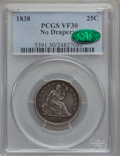 Seated Quarters: , 1838 25C No Drapery VF30 PCGS. CAC. PCGS Population (6/176). NGCCensus: (3/150). Mintage: 466,000. Numismedia Wsl. Price f...