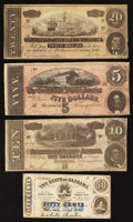 Confederate Notes:1864 Issues, T67 $20 1864;. T68 $10 1864;. T69 $5 1864;. Montgomery, AL - The State of Alabama 50¢ Jan. 1, 1863. ... (Total: 4 notes)